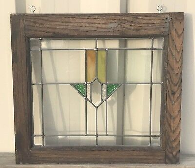 Antique Restored Wood Panel Stained Glass Window 19.5x18 Beveled