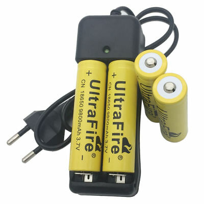 4X 18650 9800mAh Battery 3.7V Li-ion Rechargeable Batteries and 4.2V Charger EU