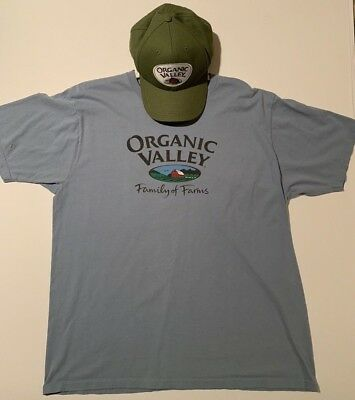 Organic Valley Family of Farms T-Shirt Size XL and New w/o tags Snapback Hat Cap