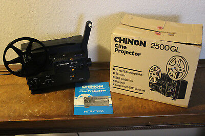 CHINON - 2500GL DUAL FILM PROJECTOR MOVIE 8 & SUPER 8mm WITH BOX & MANUAL