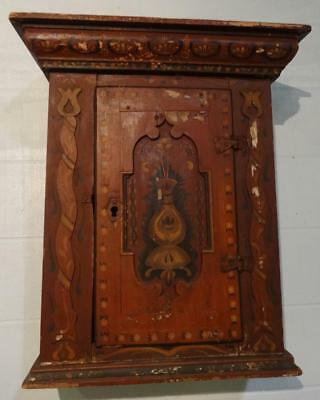 Early Paint Decorated Continental Hanging Cupboard Recessed Panel Applied Tulips