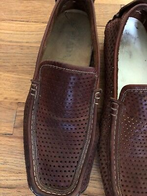 916206b9fb24 Prada Men Brown Leather Perforated Driving Loafers Slip On Casual Shoes Size  9