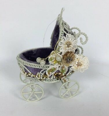 Cute Victorian Style Baby Buggy Christmas Ornament White Metal Purple Lining