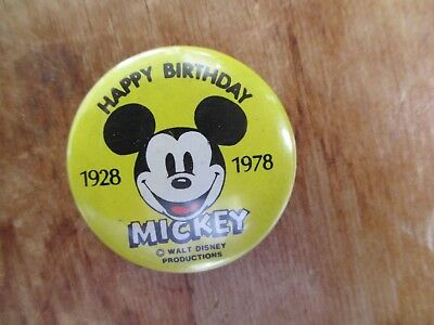 Vintage 1978 Happy 50th Birthday Mickey Mouse Pinback Button Cute!