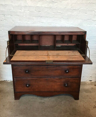 Antique George III Regency Secretaire Chest Of Drawers Circa 1790-1810
