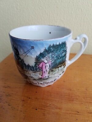 "Antique Victorian ""Merry Christmas"" Cup Angel  Star  Home in Forest"