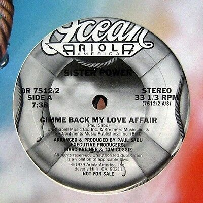 """SISTER POWER GIMME BACK MY LOVE AFFAIR/HELP ME LOVE 12"""" *I combine shipping*"""