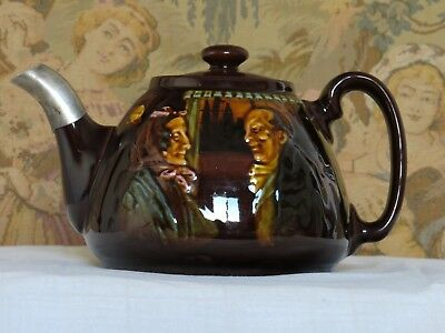 Antique Rare  Royal Doulton Kingsware teapot. Old couple by a window.