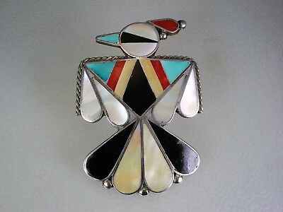 LARGE OLD Lee Edaakie ZUNI STERLING SILVER & MOSAIC INLAY THUNDERBIRD PIN
