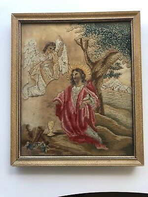 Early 19th century French Petit Needle Work Picture in Wooden Frame