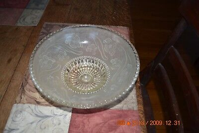 Vintage round glass ceiling light fixture shade frosted florals and clear glass