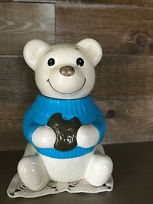Vintage Metlox Blue Sweater Teddy Bear Cookie Jar