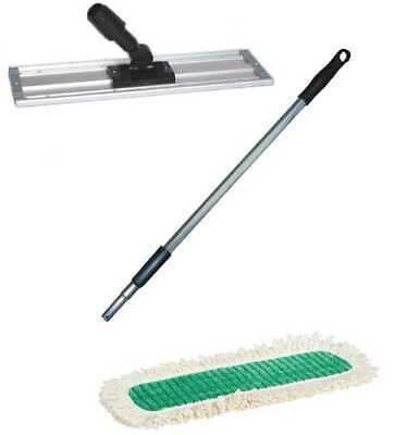 """18"""" Microfiber Scrubbing Mopping Kit w telescopic pole, 3 pads, and holder frame"""