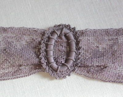 Antique Lavender Fillet Lace and Victorian Crocheted Belt Buckle Creative Crafts