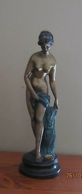 Art Deco Bronze look naked lady statue