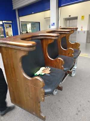 Lot of two 1940s Oak and dark navy leather 3 seater church pews