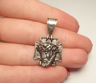 Vintage Jesus On Cross Religious Pendant Charm Sterling Silver 925