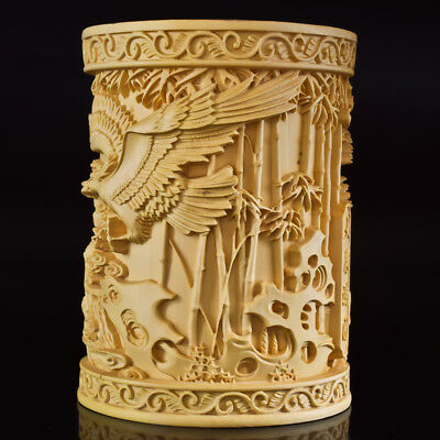 Chinese Boxwood Hand Carved   Eagle & Tree Exquisite Brush Pot MB007