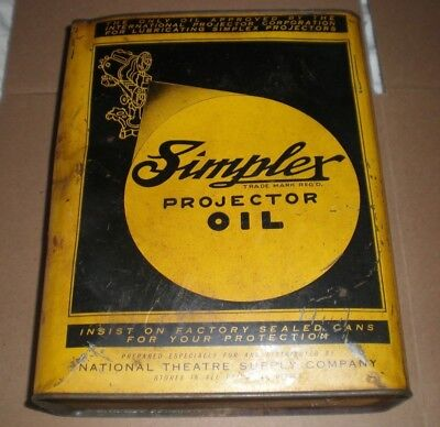 Vintage Advertising Simplex Projector Oil One Gallon Metal Can-Yellow And Black