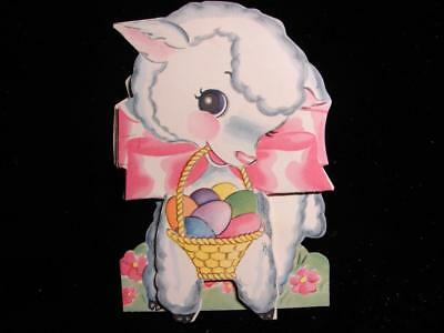 """Vintage """"little Lamb And Easter Basket - Fold Up!!"""" Easter Day Greeting Card"""