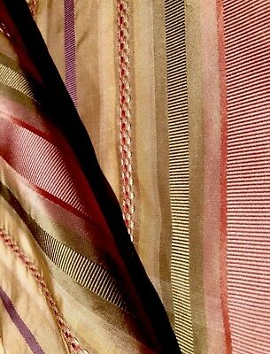Striped Patterned Drapery Silk Multicolored by HALF YARD