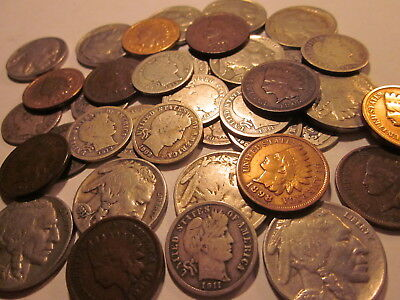 """""Old U.S Coins Estate Lot."""" Barber Dime, Indian Head Cent, Buffalo Nickel"""