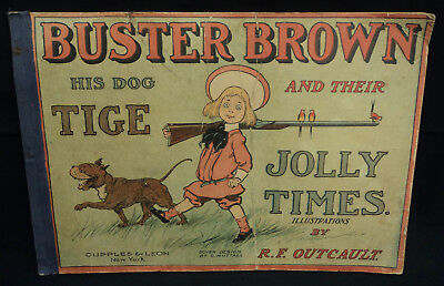 Vintage Buster Brown His Dog Tige & Their Jolly Times Book @1905 Hard Cover 16""