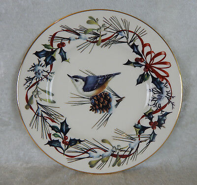 "Lenox Ivory China Winter Greetings Holiday Dinner Plate 9 3/8"" Nuthatch Unused"