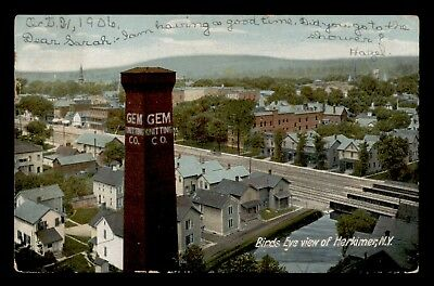 Dr Who 1906 Herkimer Ny Aerial View Postcard C57461