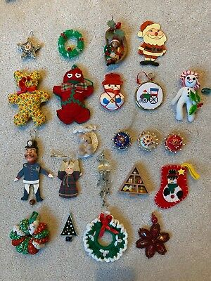 Lot of 22 Vintage Christmas Ornaments, many handmade, G/VG condition