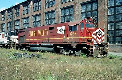 LEHIGH VALLEY LV ALCO C628 637 ROSTER @ SAYRE PA in 1975 ORIGINAL SLIDE
