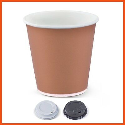BULK 8oz SINGLE WALL DISPOSABLE PAPER COFFEE CUPS Insulated Hot Drink Paper Cups