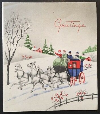 vintage christmas greeting new year holiday card old fashioned carriage in snow