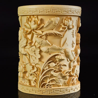 Chinese Boxwood Hand Carved Fish & Lotus Exquisite Brush Pot MB008@