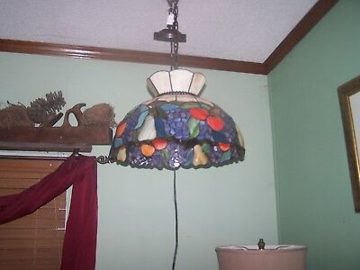 Vintage Tiffany Style Stained Glass Fruit Hanging Light