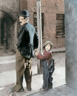 "CHARLIE CHAPLIN & JACKIE COOGAN THE KID 1921 8x10"" HAND COLOR TINTED PHOTOGRAPH"
