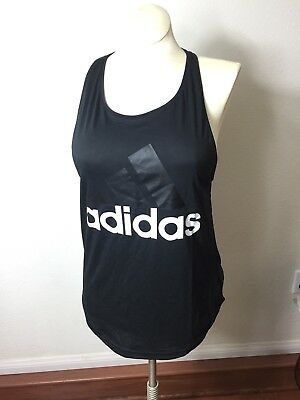 50ee51eeaca1c9 ADIDAS ESS LIN Lo tank top women's size medium black with white NWT ...