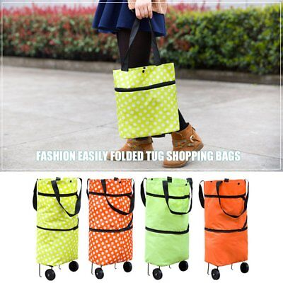 Large Capacity Waterproof Oxford Cloth Foldable Shopping Trolley Wheel Bag OZ
