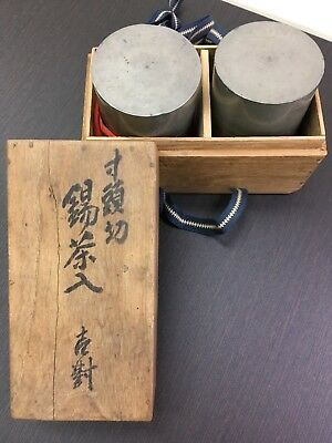 Japanese Tin TEA CADDY Chaire Container set with the box