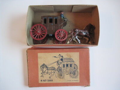 Cast Iron Horse-Drawn Stage Coach 2 Horses, Drivers, Made in France w/ Orig. Box