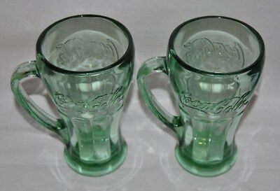 Beautiful Vintage Green Glass Coca Cola Mugs