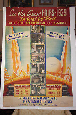 Original American Express & Railroad Poster for 1939 World's Fairs