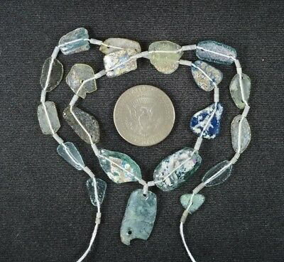 Ancient Roman Glass Beads 1 Medium Strand Aqua And Green 100 -200 Bc 990