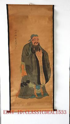 Old Collection Scroll Chinese Painting / Portrait of Confucius  @ZH1026`a