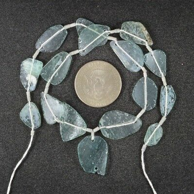 Ancient Roman Glass Beads 1 Medium Strand Aqua And Green 100 -200 Bc 992