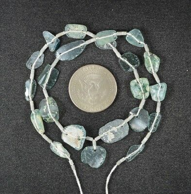 Ancient Roman Glass Beads 1 Medium Strand Aqua And Green 100 -200 Bc 993