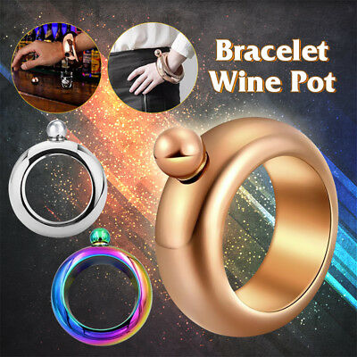 CEFA Creative Hidden Booze Smuggle Jug Bracelet Bangle Liquor Flask Jewellery