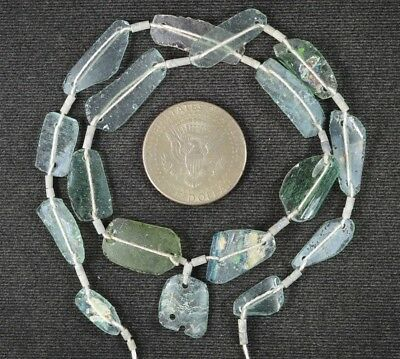 Ancient Roman Glass Beads 1 Medium Strand Aqua And Green 100 -200 Bc 996