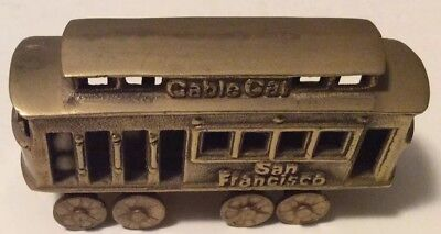 Vintage Brass San Francisco Cablecar Trolley Railway Figurine Paperweight