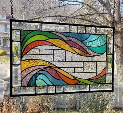 **A WAVE OF COLOR** Stained Glass Window Panel (Signed and Dated)